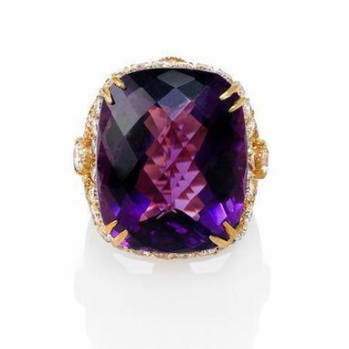 Haggai Diamond and Purple Amethyst 18k Yellow Gold Ring | Riveting Rings | Scoop.it