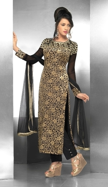 Designer Semi Stitched Black Chudidar Salwar Suit | Women's Fashion & Jewellery Shopping | Scoop.it