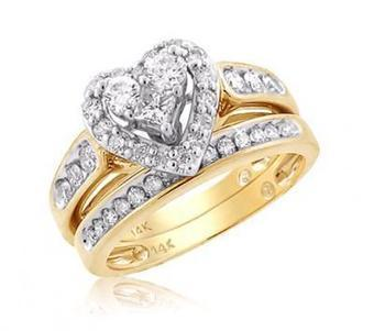 Heart Shaped Bridal Set With Unique Design In 14k Yellow Gold | Wedding Ring | Scoop.it