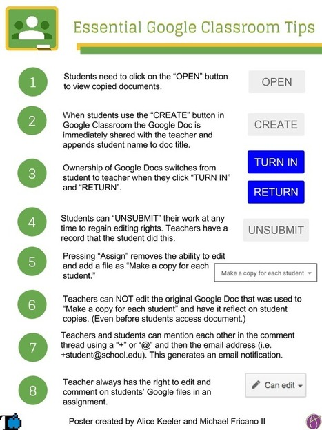 Google Classroom: 8 Essential Tips Infographic ^ Teacher Tech | On education | Scoop.it