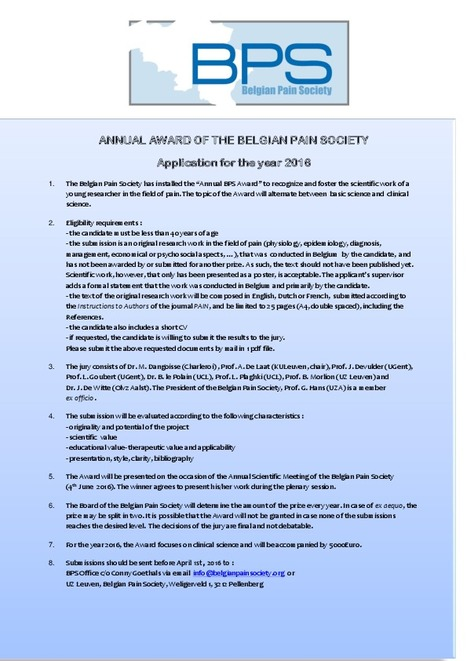 Application BPS Award 2016 | News from the Belgian Pain Society | Scoop.it