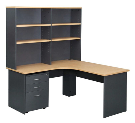B Corner Work Station, Overhead Hutch, Monitor Stand and Mobile Pedestal | Office Equipment Supplies Perth | Scoop.it