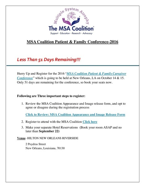 MSA Coalition Conference-51 days remaining!!! | The Multiple System Atrophy Coalition | Scoop.it