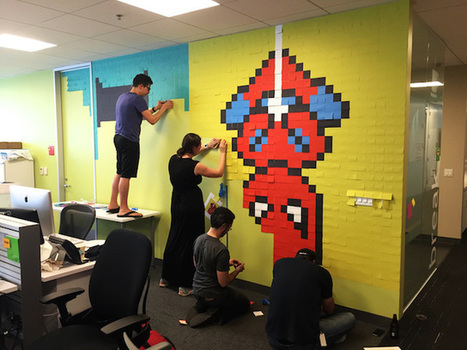 8 Bit Superheroes with #Sticky #Notes in an Office | Design Ideas | Scoop.it