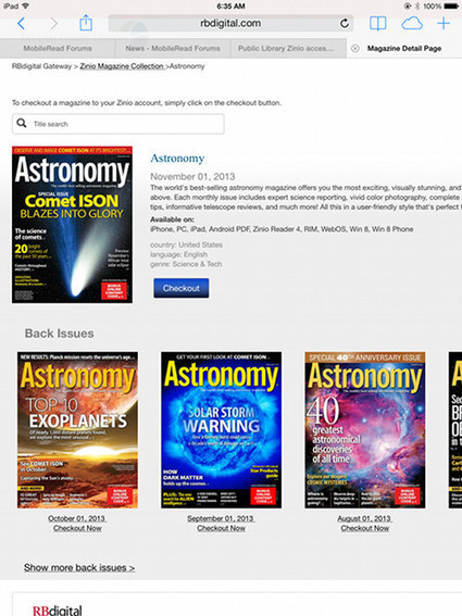 Zinio Now Offers Free Back Issues of Magazines Through Public Libraries   The eBook Reader Blog   The Information Professional   Scoop.it