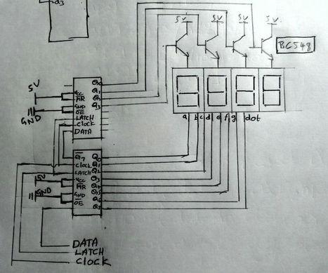 Multiplexing four 7-segment displays using Shift Registers Arduino | arduino | Scoop.it
