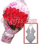 Roses bouquet with handpainted monokini deliver this summer day - Roses and Swimwear#011 | MOTHER'S DAY GIFT IDEAS | Scoop.it