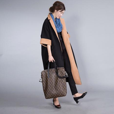 Long coat black stitching loose raglan sleeves Cape coat  : Manteau, Blouson, veste par ebuicakebs | Ladies Fashion | Scoop.it