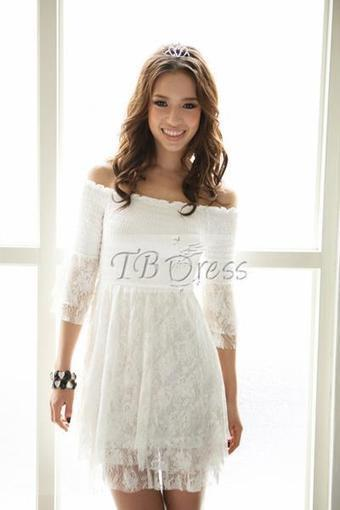 $ 19.09 New Arrival Boat Neck Lace Short Length Dress | fashion | Scoop.it