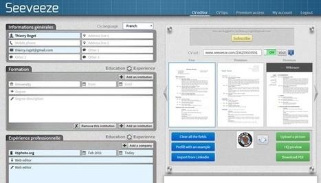 Seeveeze : CV en ligne simple, mais bien fait | CV, lettre de motivation, entretien d'embauche | Scoop.it