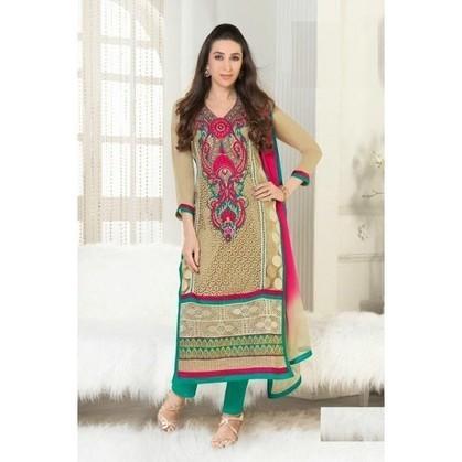 Karishma Kapoor Beige Georgette Anarkali Suits - TheEthnicWear | Designer Salwar Kameez | Party Wear Salwar Kameez | Bollywood Churidar Salwar Kameez | Scoop.it