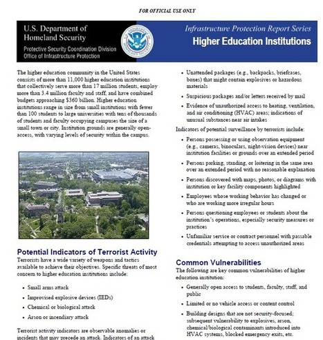 TOP SECRET /// DHS Infrastructure Protection Report : Higher Education Institutions   High Technology Threat Brief (HTTB) (1)   Scoop.it