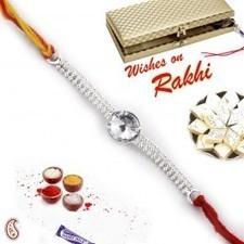White crystal Silver chain Rakhi in Premium Gift box   Rakhi Gifts to India, USA, UK, Canada, Australia   Scoop.it