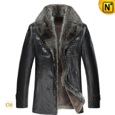 CWMALLS® Mens Black Fur Leather Jacket CW868871 | Fur Lined Mens Coat | Scoop.it
