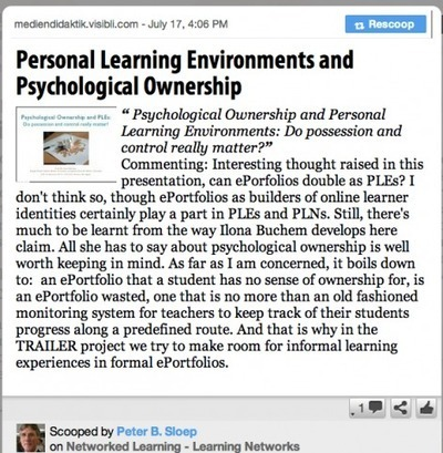 Personal Learning Environments and Psychological Ownership | biblio escolares | Scoop.it