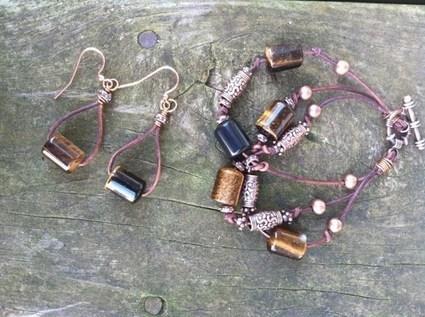 Tiger Eye Leather Bohemian Bracelet Earth Copper Earring Set | AvendesoraArtJewelry - Jewelry on ArtFire | HandmadeArtJewelry | Scoop.it