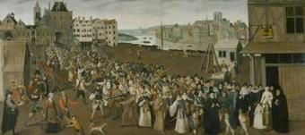 Procession de la Ligue, sortant de l'arcade Saint-Jean de l'Hôtel de Ville, en 1590 ou 1593 | Histoire de France | Scoop.it