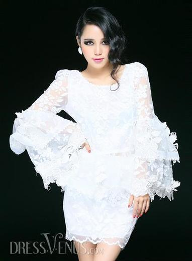 Fascinating White Puff Sleeves Multilayer Lace Suit(Blouse&Skirt) | sweet | Scoop.it