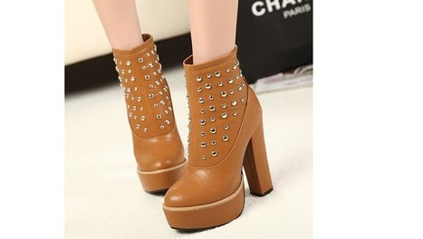 Wholesale Leather boots for women rivets thick heel shoes SY-C1783 brown - Lovely Fashion | Chic summer streetstyle(sandals) | Scoop.it