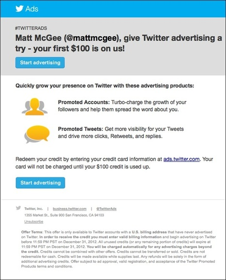 Twitter Offering $100 To Get Users To Advertise | Harris Social Media | Scoop.it