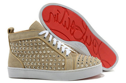 Beige Suede Christian Louboutin Sneakers Silver Spiked Louis Hitop [10006] - $136.00 : Cool Louboutins, Christian Louboutin Shoes Cool ,Cool Spiked Pump | Fashion shoes | Scoop.it