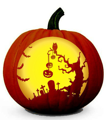 Scary Halloween Tree Scene - Pumpkin Carving Pattern | Halloween | Scoop.it