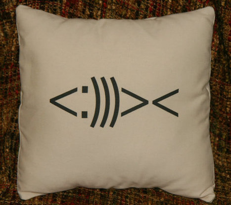 Fish Symbol Decorative Pillow Cover 14x14, Cushion Cover | ASCII Art | Scoop.it
