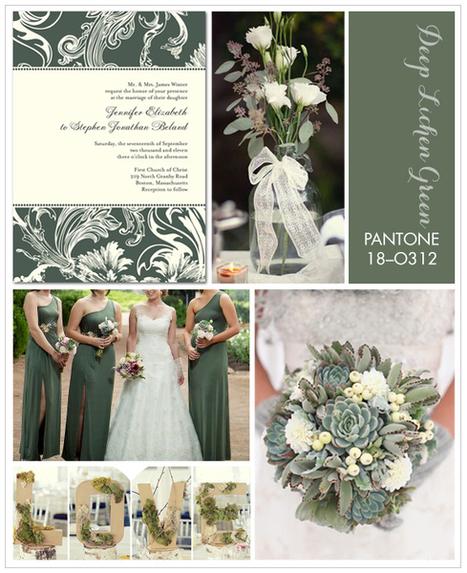 Pantone Deep Lichen Green Inspiration Board « Wedding Style, Planning & Inspiration | the Wedding Paper Divas Blog | Bridal and Wedding News | Scoop.it