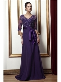 $ 149.99 Delicate Lace A-line Empire Waist V-Neck 3/4-Sleeves Floor-Length Taline's Mother Dress | Fashion ladies | Scoop.it
