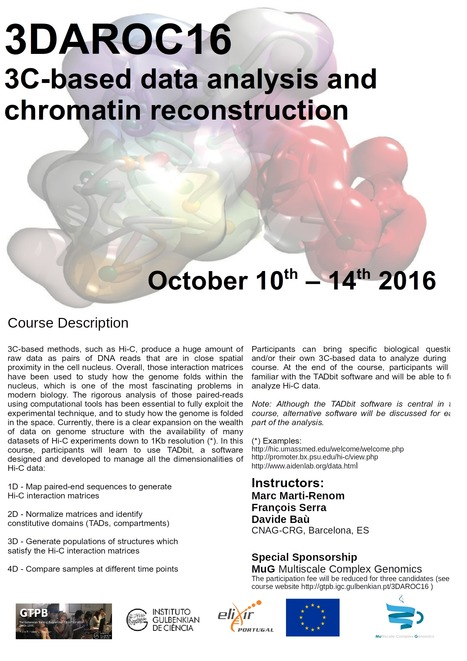 3DAROC16: 3C-based data analysis and 3D reconstruction of chromatin folding | Bioinformatics Training | Scoop.it