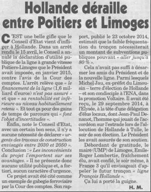 Hollande déraille entre Poitiers et Limoges - par webMaster le 27/04/2016 @ 15:42 | Stop TGV Coudon et la LGV PACA | Scoop.it