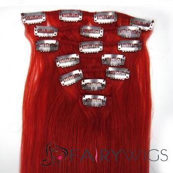 """12""""-30"""" Grizzly Red Clip In Hair Extensions : fairywigs.com 