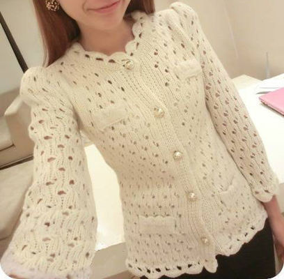 Gorgeous & Graceful Cream Long Sleeve Hollow Knit Cardigan | women's clothing style | Scoop.it