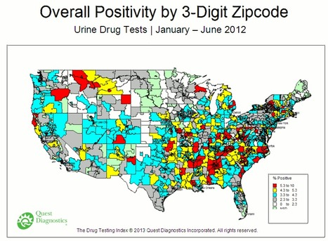 A map of the U.S. depicting overall drug test positive rates | Geography Education | Scoop.it