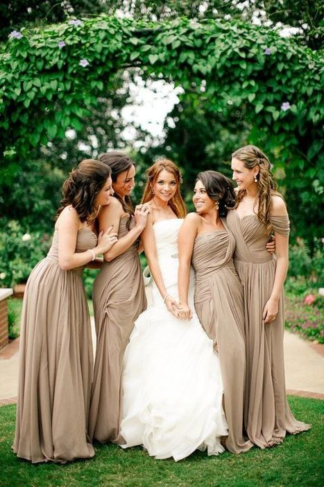 Shades of Almond: Beautiful, Neutral Bridesmaids Gowns - I Do Take Two | Wedding Inspiration | Scoop.it
