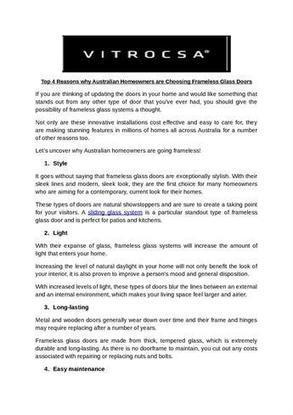 Top 4 Reasons Why Australian Homeowners are Choosing Frameless Gla..   Vitrocsa   Scoop.it