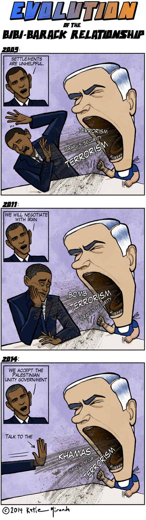 #cartoon Evolution of the relation between #Obama & #Netanyahu #Israel #Palestine #US | News in english | Scoop.it