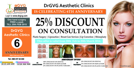 DrGVG Aesthetic Clinics is Celebrating 6th Anniversary | Cosmetic Surgery in Bangalore | Scoop.it