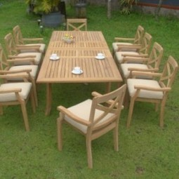 Granada 11 Pc Luxurious Grade-A Teak Wood Dining Set : Large 117″ Rectangle Table And 10 Stacking Arm Chairs | Furniture Shoppy | Best Patio Furniture Sets | Scoop.it