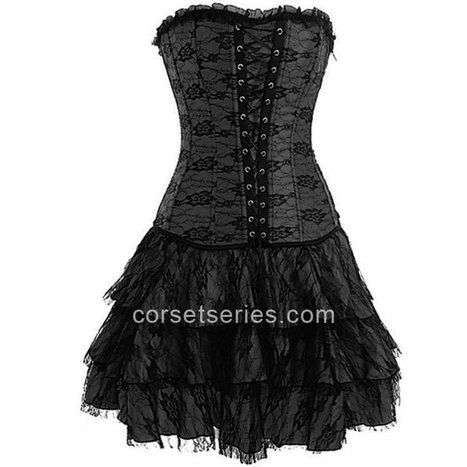 Black Gothic Lace Strapless Overbust Corset Dress Outfit For Girl [A3103] - $60.00 : A Series of Corsets | Overbust Corsets | Underbust Corsets | Boutique | Scoop.it