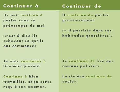 «Continuer à» ou «Continuer de» ? | Remue-méninges FLE | Scoop.it