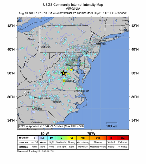 USGS Earthquake Intensity Map M5.9 – Virginia | It's All Social | Scoop.it