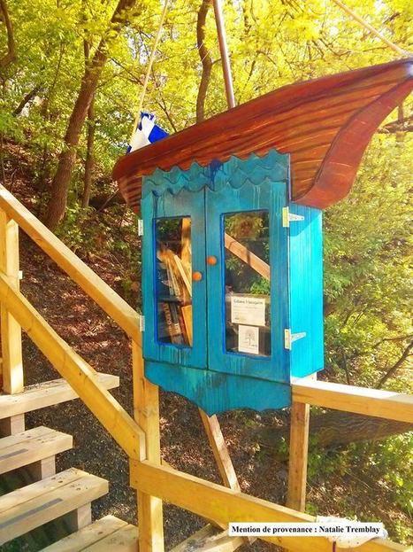 Pour les personnes qui se déplacent à pied entre le quartier Saint-Jean-Baptiste et le quartier Saint-Roch de la ville de Québec, une cabane à livres vient d'être installée dans l'escalier Badelard | The Blog's Revue by OlivierSC | Scoop.it