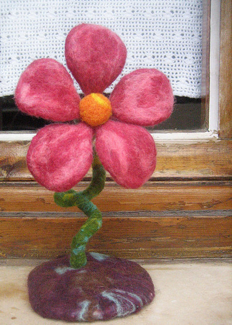 OOAK Needle felted large springtime flower, blooming centerpiece fiber sculpture! Ready to ship fairy garden flower! Spring Easter decor! | Needle felting art by Green Dot Creations' Studio! | Scoop.it