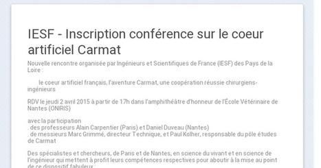 IESF - Inscription conférence sur le cœur artificiel Carmat le jeudi 2 avril à Nantes | INSA | Scoop.it