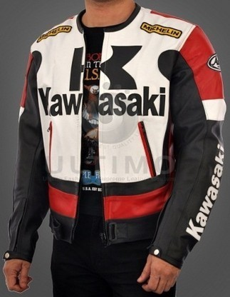 Kawasaki Motorcycle Real Leather Biker Jacket - Black/White   You like leather jackets since nobody ignored it   Scoop.it