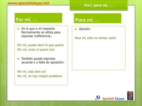¿Por mí / para mí?  - Spanish Skype Lessons   Aprender español online via skype   Scoop.it