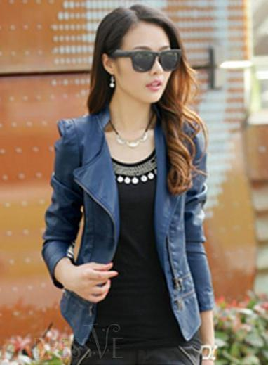 Black Blue Red Sophisticated Korean Autumn Clothing Slim Large Size PU Leather Jacket | Fashion Zone | Scoop.it