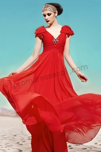 Prom dresses 2013 - Red Cap-sleeve V-neck Tencel Formal Evening Dress WB003 | 2013 new fashion prom dresses | Scoop.it