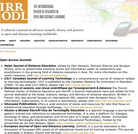 Open Access Resources & Journals presented by IRRODL | 1-MegaAulas - Ferramentas Educativas WEB 2.0 | Scoop.it